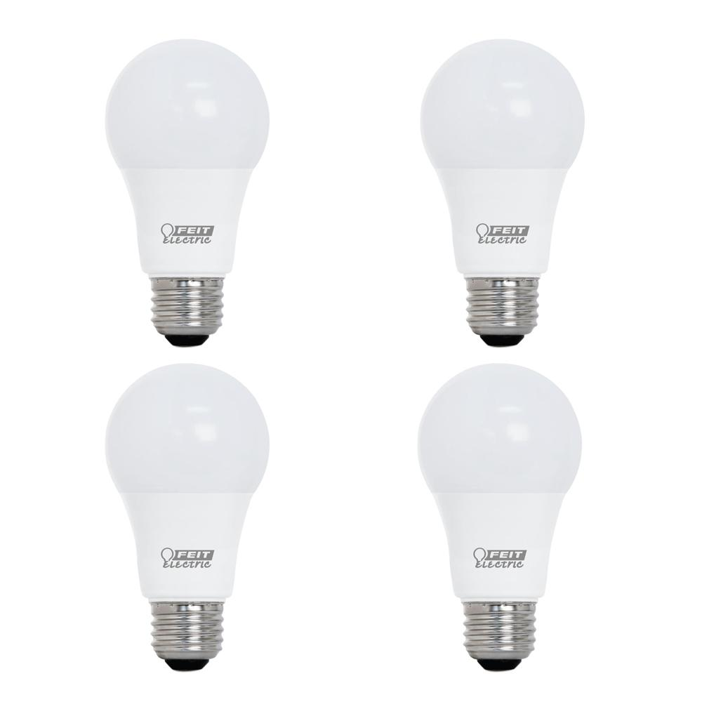 Feit Electric 60-Watt Equivalent A19 Dimmable CEC Title 24 Compliant LED ENERGY STAR 90+ CRI Light Bulb, Bright White (4-Pack)