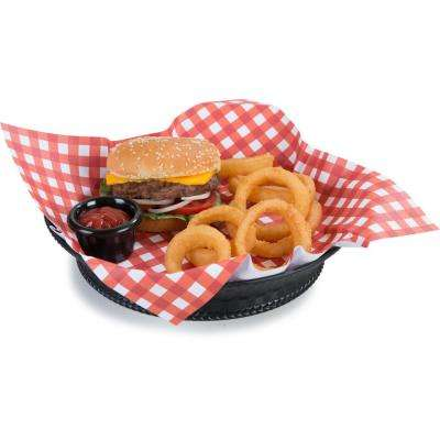 Weavewear 9.25 in. Round Polypropylene Basket Style Platter in Black (Set of 12)