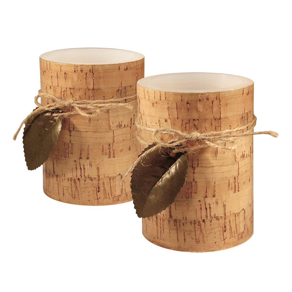 Cork Candles: Lumabase 4 In. Cork With Leaf Flameless Candles (set Of 2
