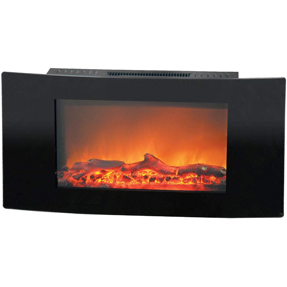Fireside 35 in. Wall-Mount Electric Fireplace with Black Curved Panel and