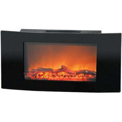 Fireside 35 in. Wall-Mount Electric Fireplace with Black Curved Panel and Realistic Log Display