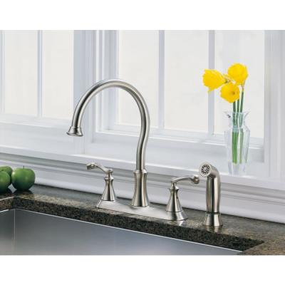 Vessona 2-Handle Standard Kitchen Faucet with Side Sprayer in Stainless