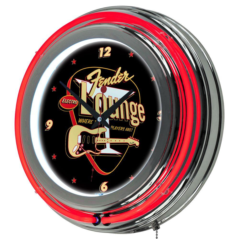 Trademark 14 in. Fender Electro Lounge Double Ring Neon Wall Clock