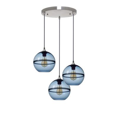 Unique Optic Contemporary 9 in. H 3-Light Silver DoubleEyelid Hand Blown Glass Chandelier with Blue Glass Shades