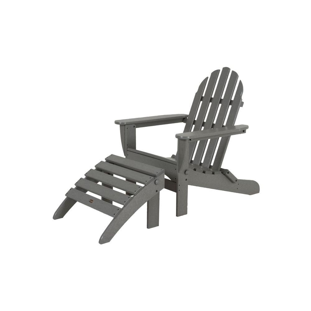 POLYWOOD Classic Slate Grey Plastic Patio Adirondack Chair PWS136 1