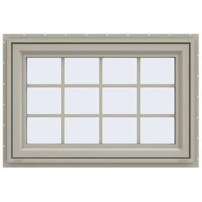 35.5 in. x 29.5 in. V-4500 Series Awning Vinyl Window with Grids - Tan