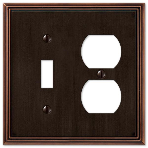 Rhodes 2 Gang 1-Toggle and 1-Duplex Metal Wall Plate - Aged Bronze