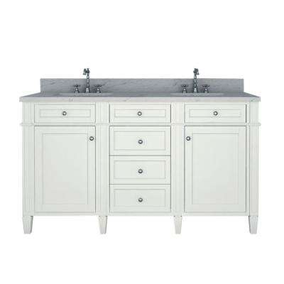 Samantha 60 in. W x 22 in. D Double Vanity in White with Marble Vanity Top in White with White Basin