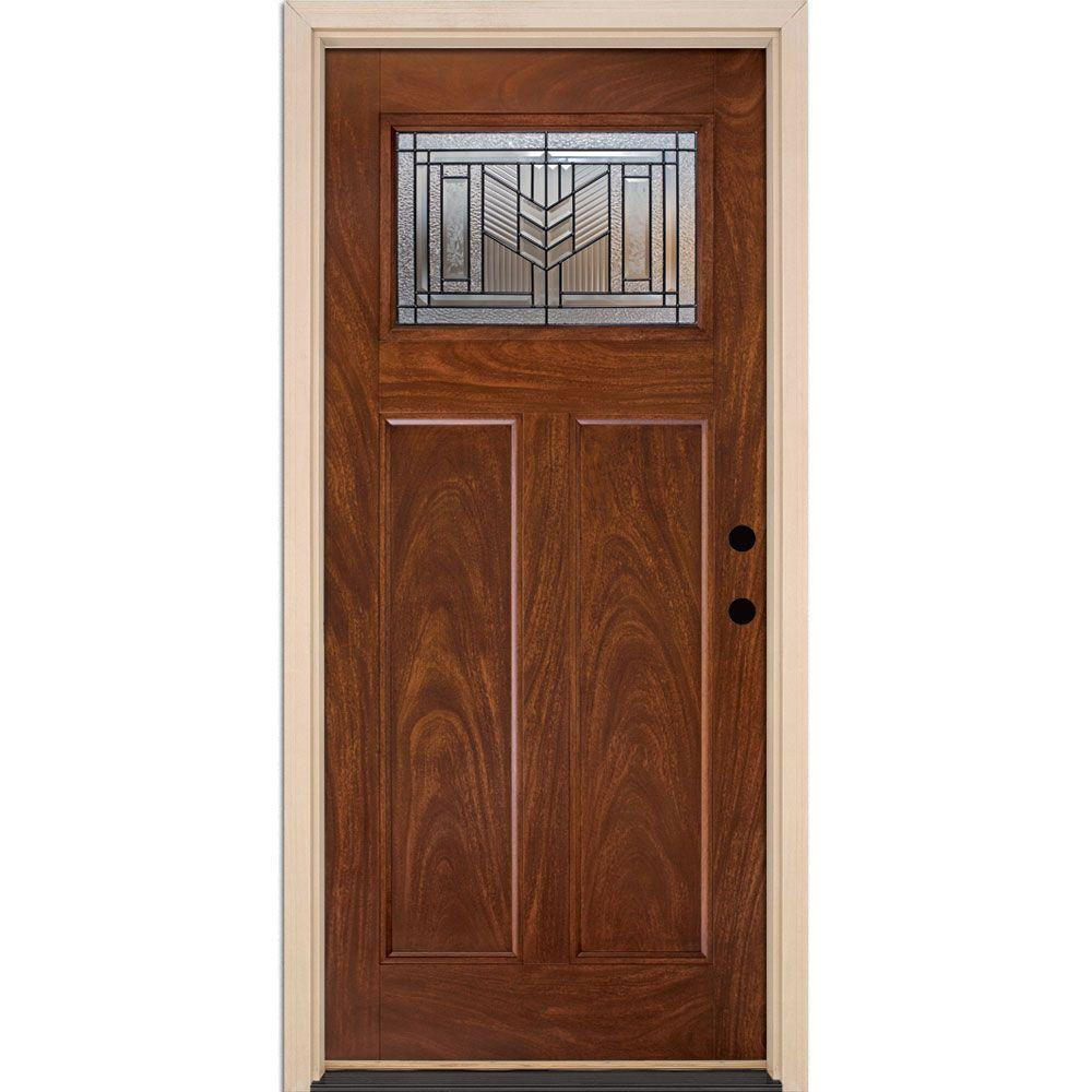 37.5 in. x 81.625 in. Phoenix Patina Craftsman Stained Chocolate Mahogany