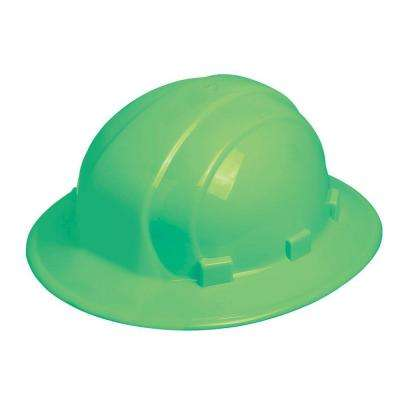 Omega II 6 Point Nylon Suspension Slide-Lock Full Brim Hard Hat in Glow-Mega