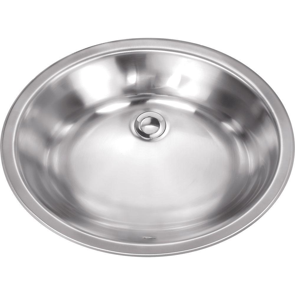 Oval Undermount Vanity Sink in Brushed Stainless Steel