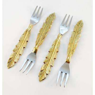 4-Piece Feather Design Coctail Forks Set