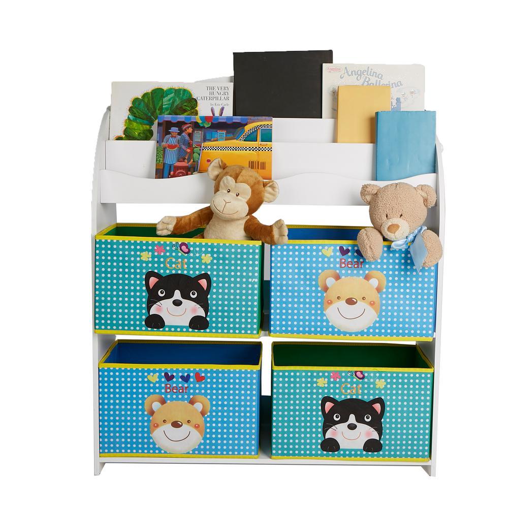White Book Shelf with Toy Bin Organizer