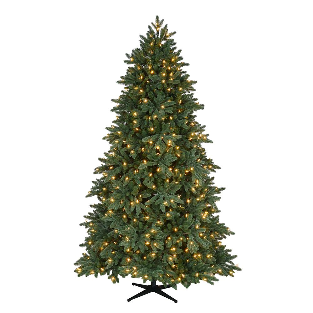 Home Accents Holiday 7.5 ft. Pre-Lit LED Bristol Spruce Quick Set ...
