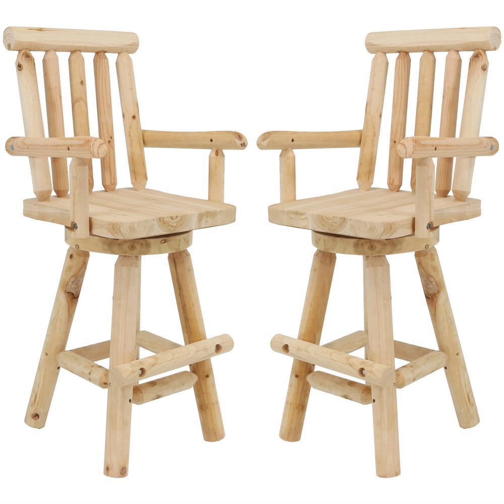 Marvelous Sunnydaze Decor Rustic 29 5 In Swivel Wood Log Style Outdoor Bar Stool 2 Pack Pdpeps Interior Chair Design Pdpepsorg