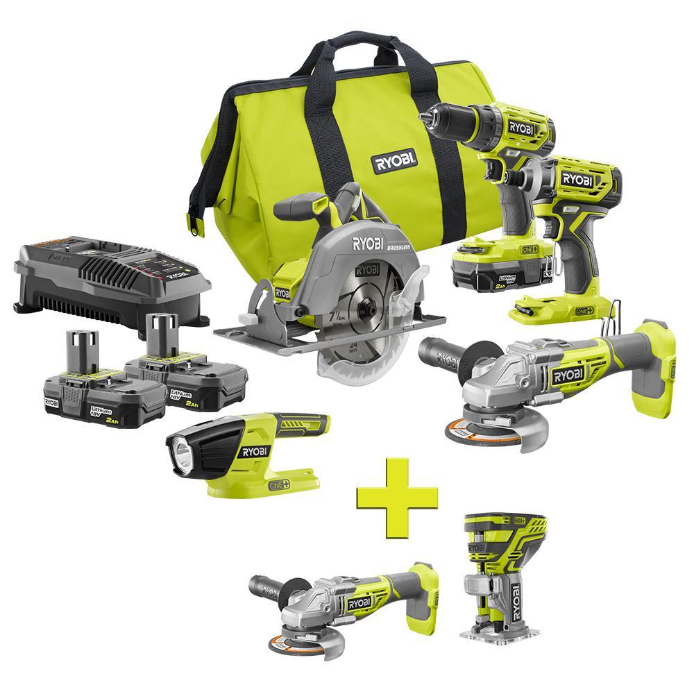 ryobi 18-volt one+ lithium ion cordless 6-tool combo kit with (2