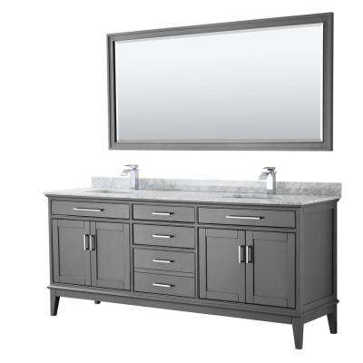 Margate 80 in. Bath Vanity in Dark Gray with Marble Vanity Top in White Carrara with White Basins and 70 in. Mirror