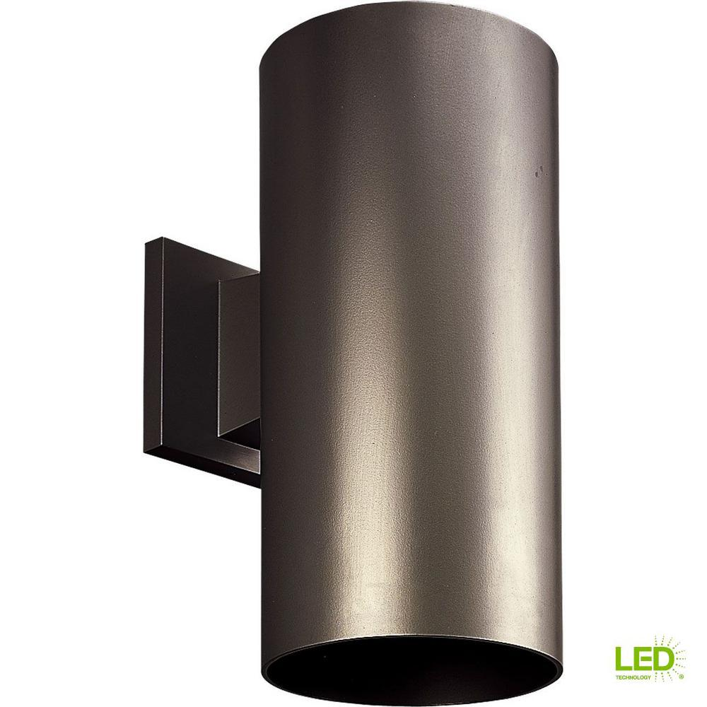 1-Light Antique Bronze Integrated LED Outdoor Wall Mount Cylinder Light