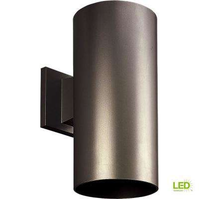 1-Light Antique Bronze Integrated LED 12 in. Outdoor Wall Mount Cylinder Light
