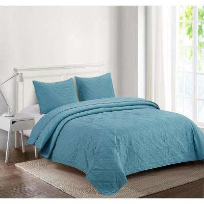 Dusty Blue Quilts Bedspreads Bedding Bath The Home Depot