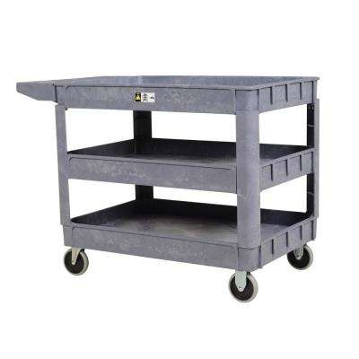 17.5 in. x 31 in. 3 Shelf Plastic Utility Cart