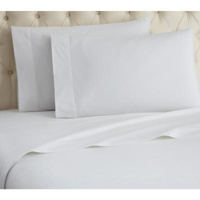 Micro Flannel 4-Piece White Solid Queen Sheet Set