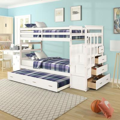 White Twin over Twin Bunk Bed with Trundle and Drawers