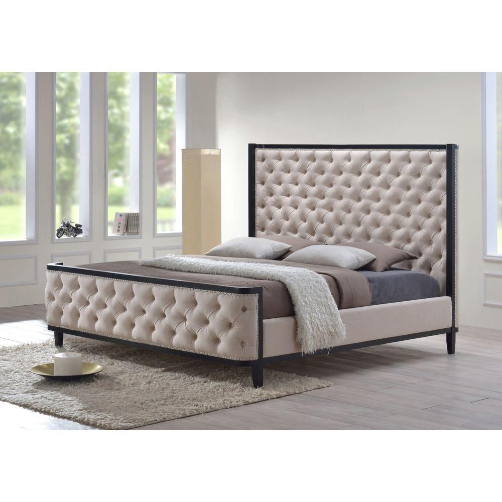 Luxeo Khaki Green King Upholstered Bed