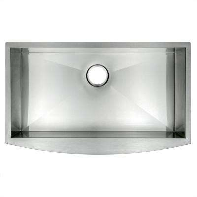 Farmhouse Apron Front Stainless Steel 33 in. x 20 in. x 9 in. Single Bowl Kitchen Sink in Brushed Finish