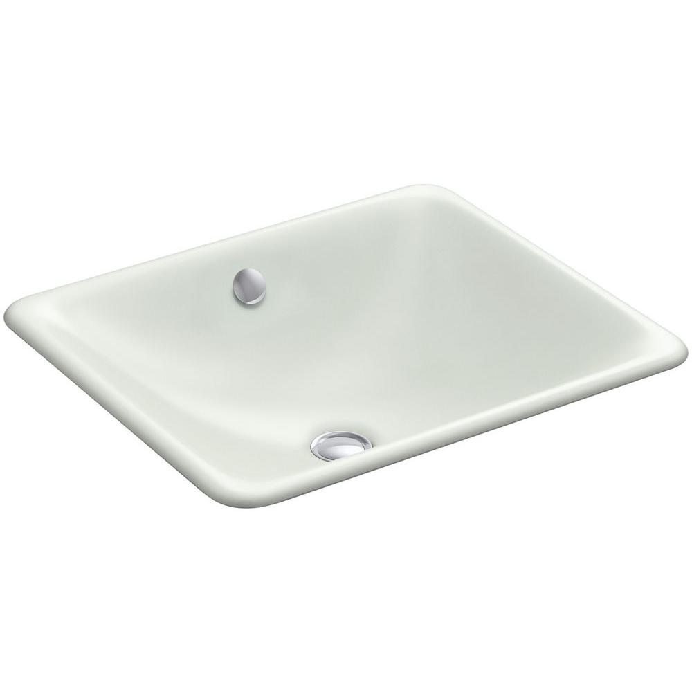 Iron Plains Dual-Mounted Cast Iron Bathroom Sink in Sea Salt with