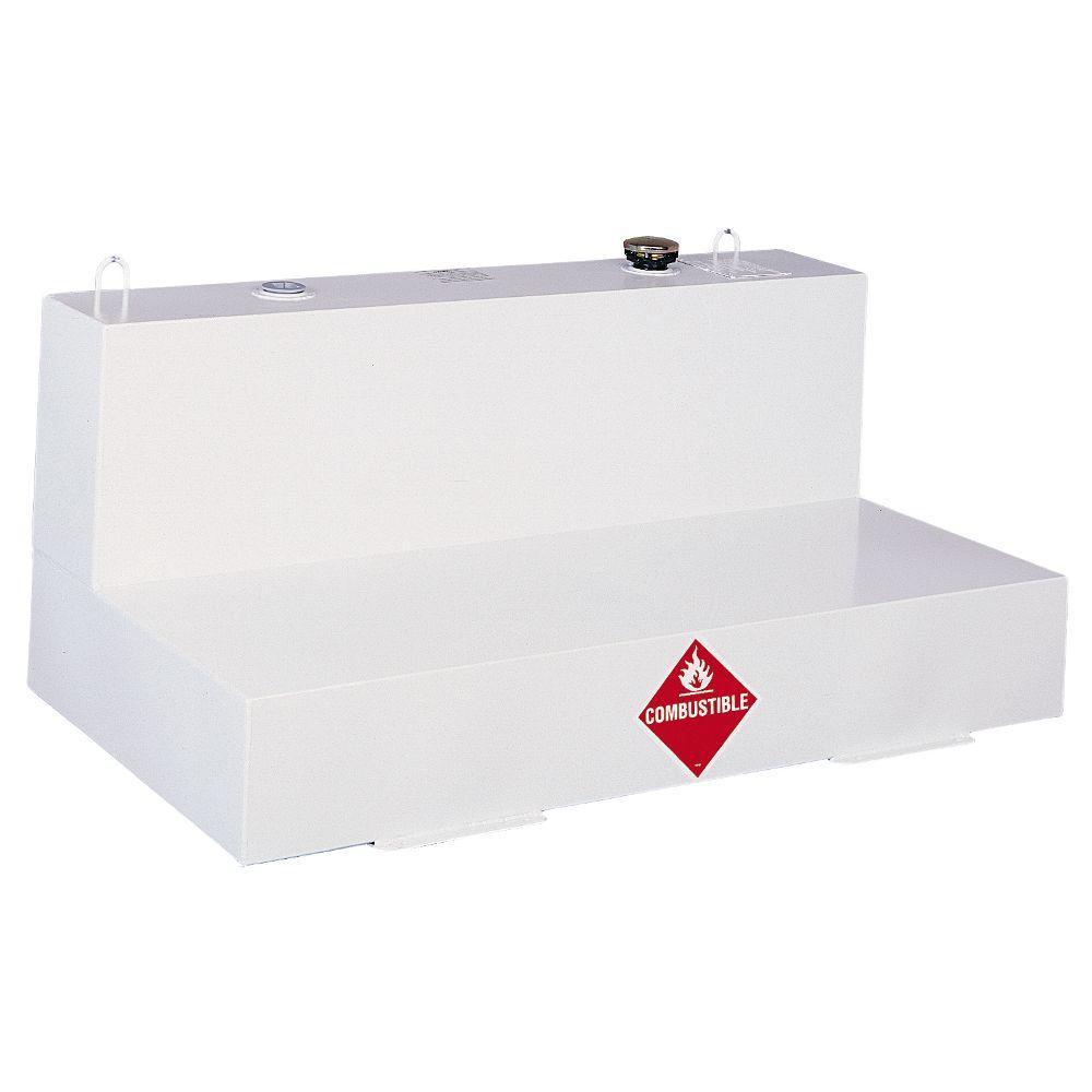 Low-Profile L-Shaped Steel Liquid Transfer Tank in White