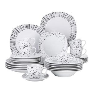 30-Piece White Pattern Porcelain Dinnerware Set Square Plates Cup and Saucer Set(Service for 6)