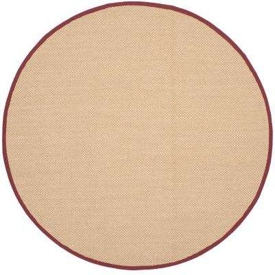 Natural Fiber Maize Burgundy 6 Ft X Round Area Rug