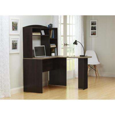 Sutton Brown Desk with Hutch