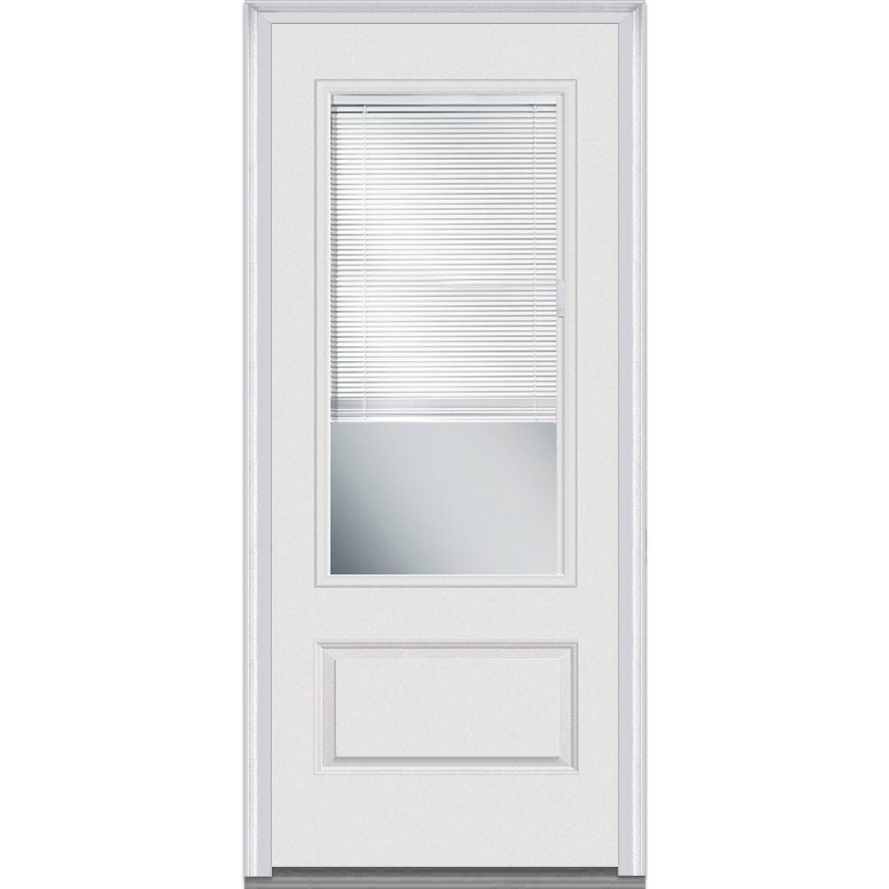 36 in. x 80 in. RLB Left-Hand 3/4 Lite 1-Panel Classic Primed Fiberglass Smooth Prehung Front Door