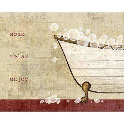 """20 in. x 24 in. """"Vintage Bathtub with Red"""" Planked Wood Wall Art Print"""