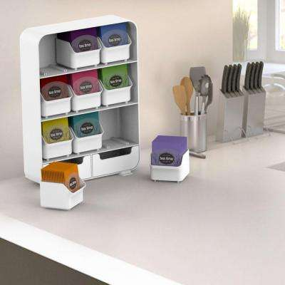 Baggy 9 Drawer Tea Bag and Accessory Holder in White