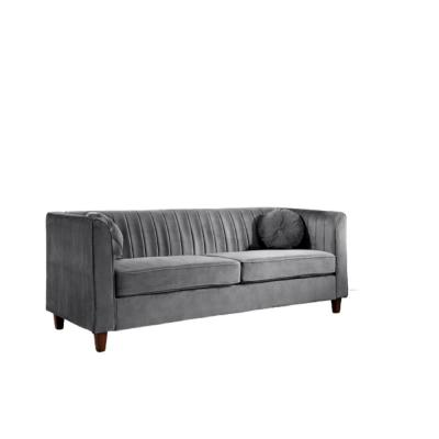 Lowery 79.5 in. Grey Velvet 3-Seater Tuxedo Sofa with Square Arms