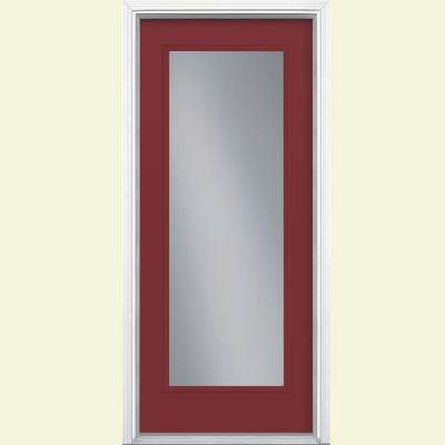 32 in. x 80 in. Full Lite Red Bluff Left Hand Inswing Painted Smooth Fiberglass Prehung Front Door w/ Brickmold