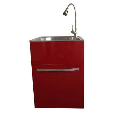 All-in-One 24.2 in. x 21.3 in. x 33.8 in. Stainless Steel Utility Sink and Large Empire Red Drawer Cabinet