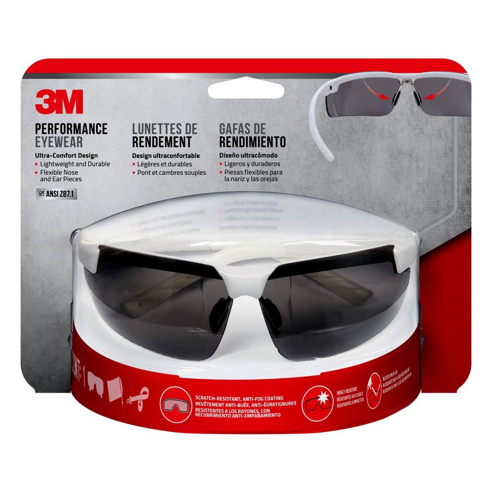 8369bc676ed 3M Metallic White Frame with Gray Anti-Fog Lenses Performance Safety Glasses