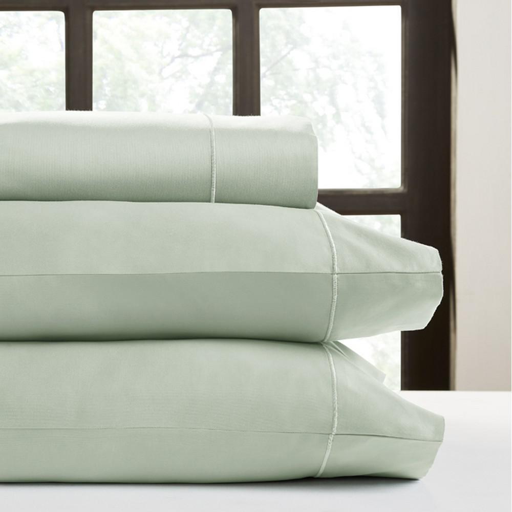 Perthshire Platinum 4-Piece Celedon Solid 500 Thread Count Cotton Queen Sheet Set
