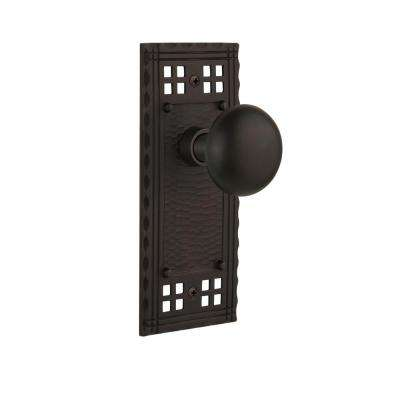 Craftsman Plate 2-3/8 in. Backset Oil-Rubbed Bronze Privacy Bed/Bath New York Door Knob