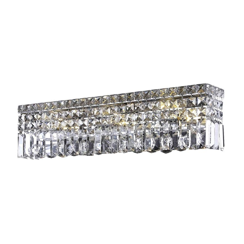 Elegant Lighting 6-Light Chrome Wall Sconce with Clear Crystal