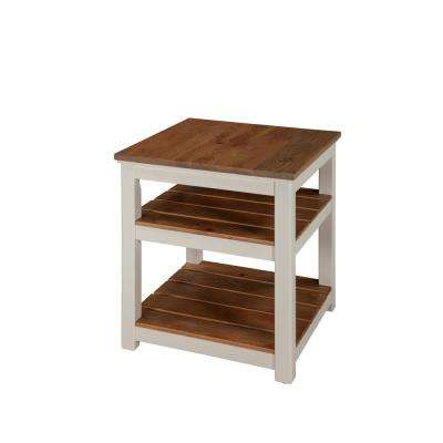 Savannah 2 Shelf End Table, Ivory with Natural Wood Top