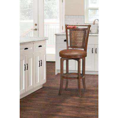 Norwood 26.5 in. Brown Cherry Swivel Cushioned Bar Stool