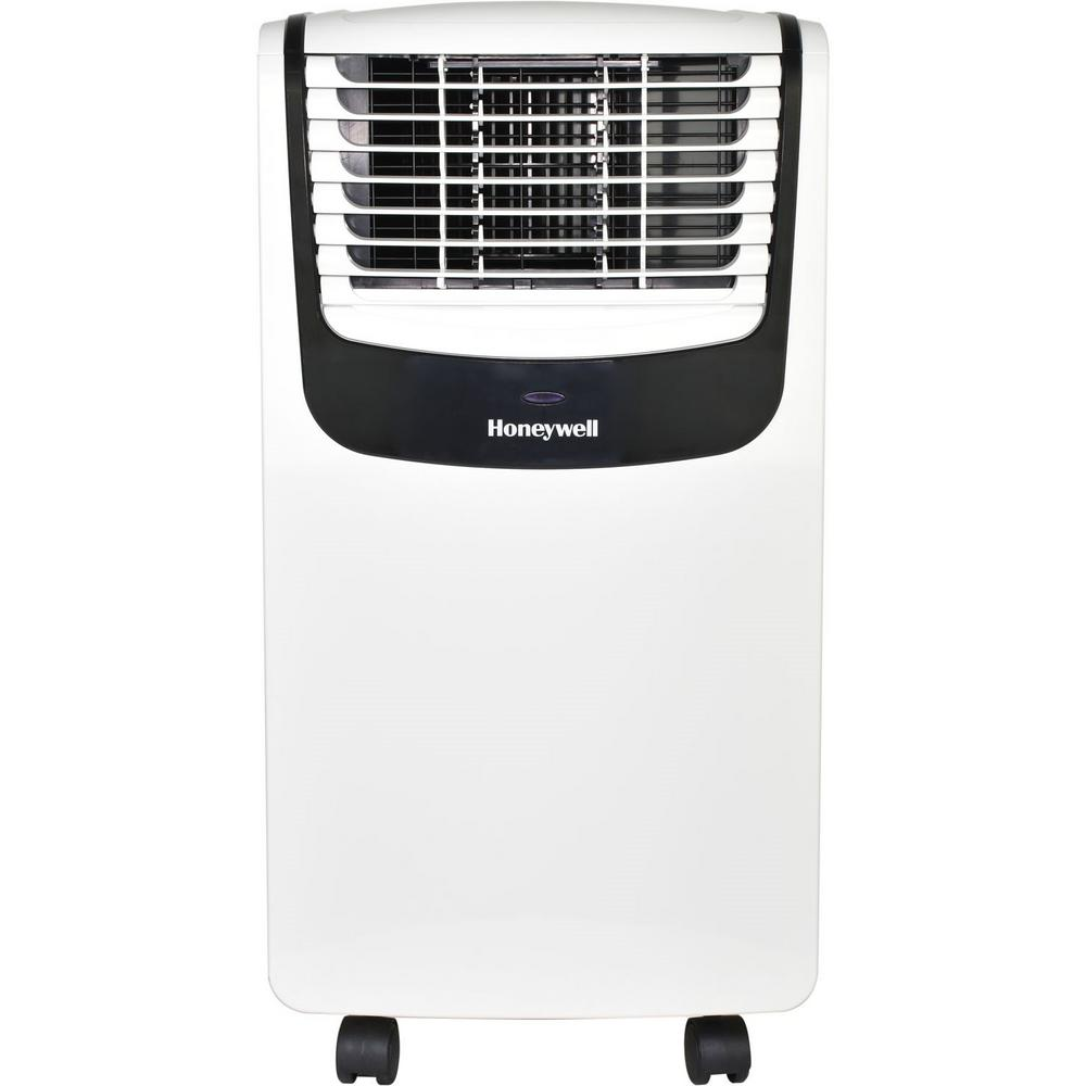 Honeywell 8 000 Btu 4 000 Btu Doe 115 Volt Portable Air Conditioner With Dehumidifier And Remote Control In White And Black Mo08ceswk The Home Depot