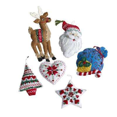 3.5 in. by 4.5 in Nordic Santa Felt Applique Ornament Kit (Set of 6)