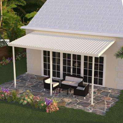 12 ft. x 10 ft. Ivory Aluminum Attached Solid Patio Cover with 3 Posts (20 lbs. Live Load)