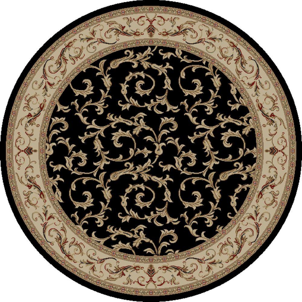 Concord Global Trading Jewel Veronica Black 5 Ft Round Area Rug